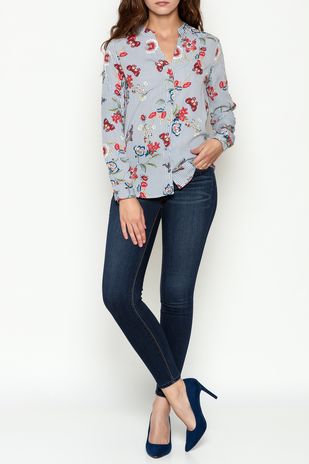 OVI Butterfly Striped Blouse - Side Cropped Image
