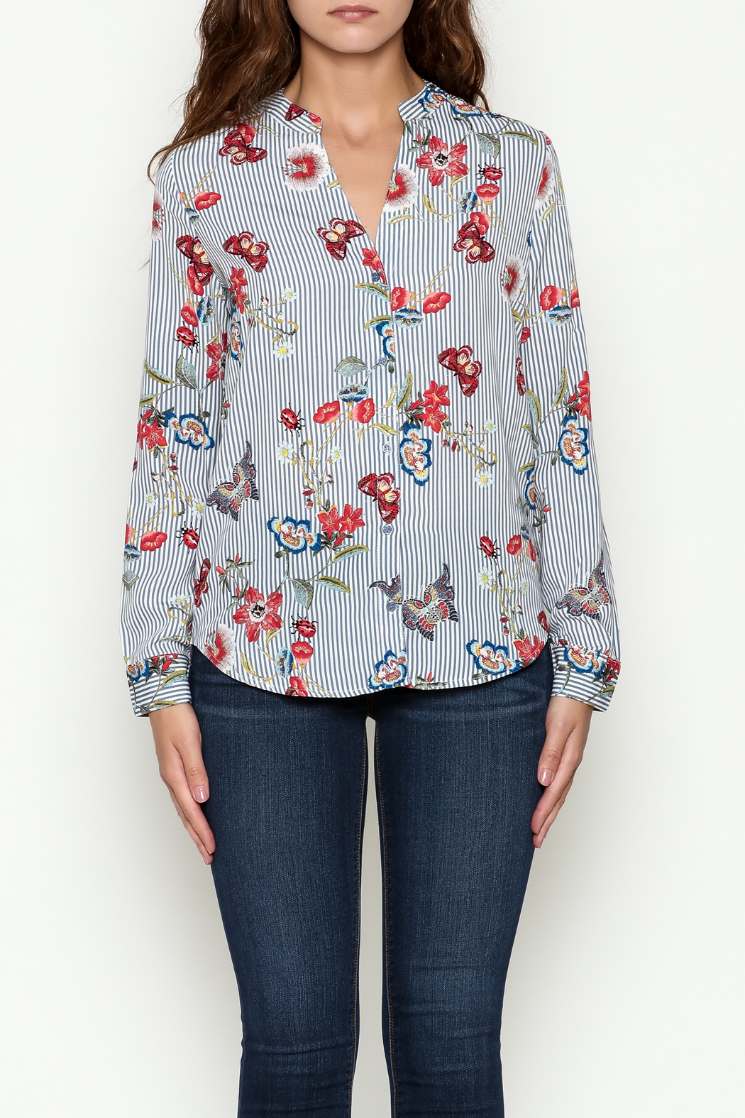 OVI Butterfly Striped Blouse - Front Full Image