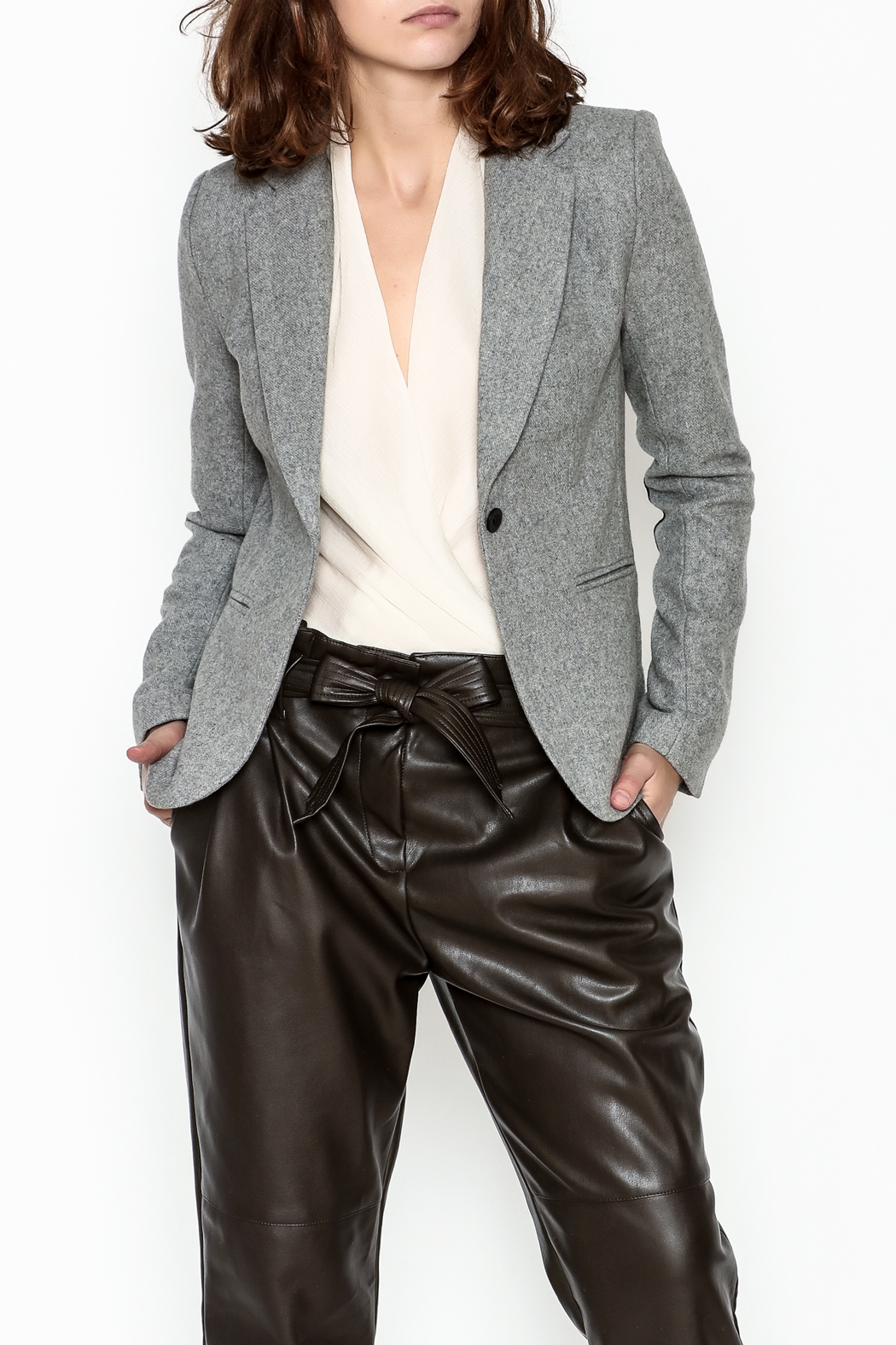 OVI Elbow Patch Blazer - Front Cropped Image