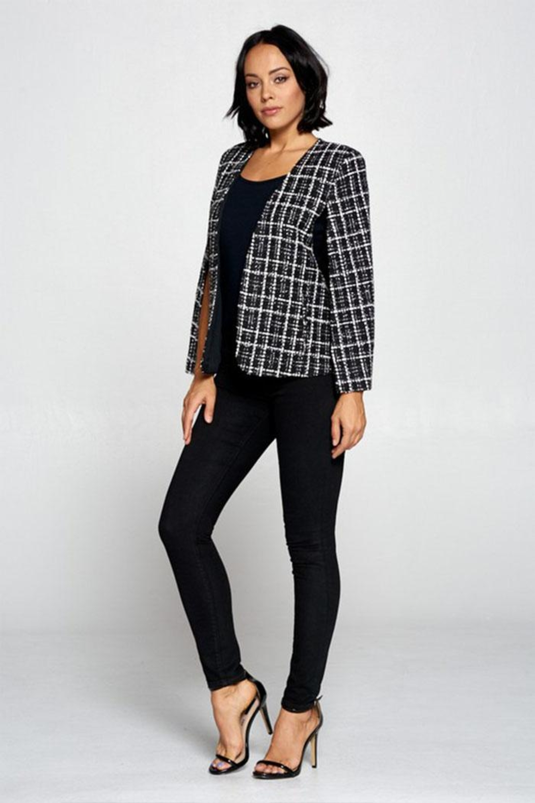 OVI Plaid Cape Blazer - Back Cropped Image