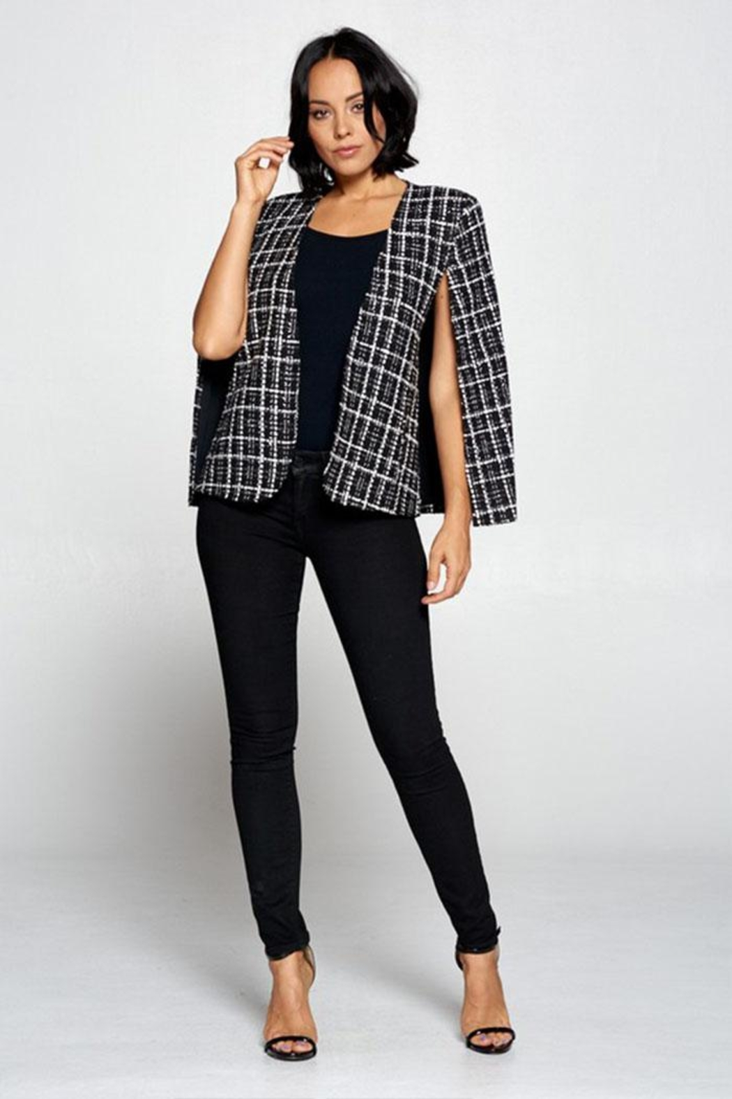 OVI Plaid Cape Blazer - Front Full Image