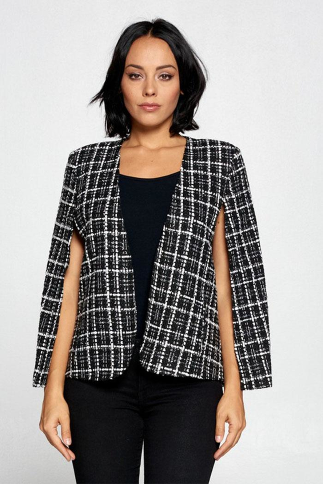 OVI Plaid Cape Blazer - Main Image