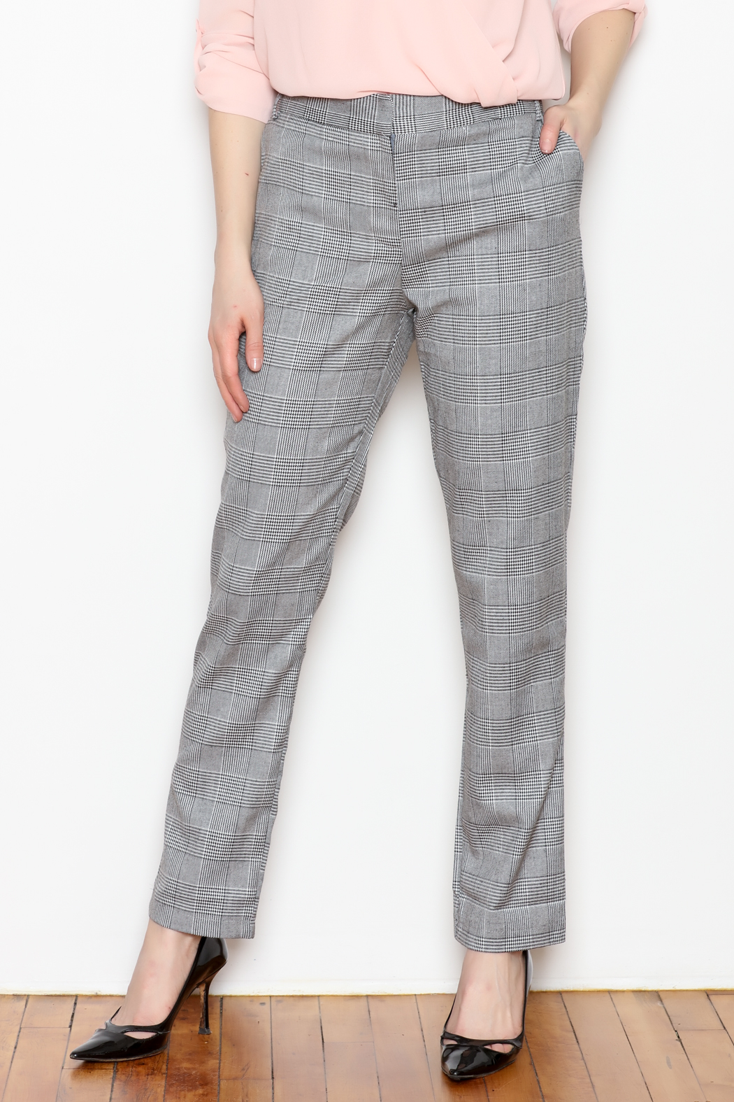 OVI Tapered Plaid Pants - Front Full Image