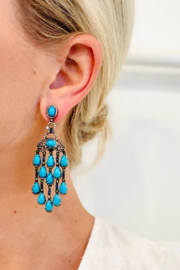 Jen Collection  Oxidized Pave Diamond Sapphire and Turquoise Statement Earrings - Product Mini Image