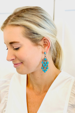 Jen Collection  Oxidized Pave Drop Earrings - Product List Image