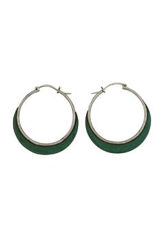 Accara Silver Oxidized Turquoise Hoops - Alternate List Image