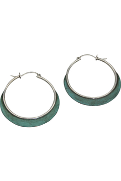 Accara Silver Oxidized Turquoise Hoops - Product List Image