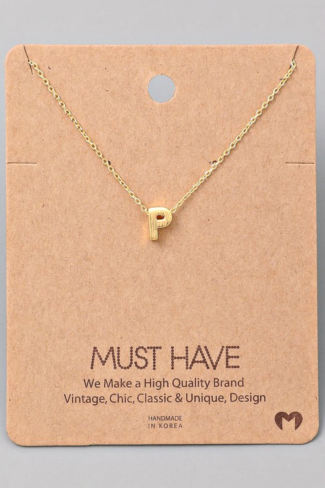 Fame Accessories P-Initial Pendant Necklace - Main Image