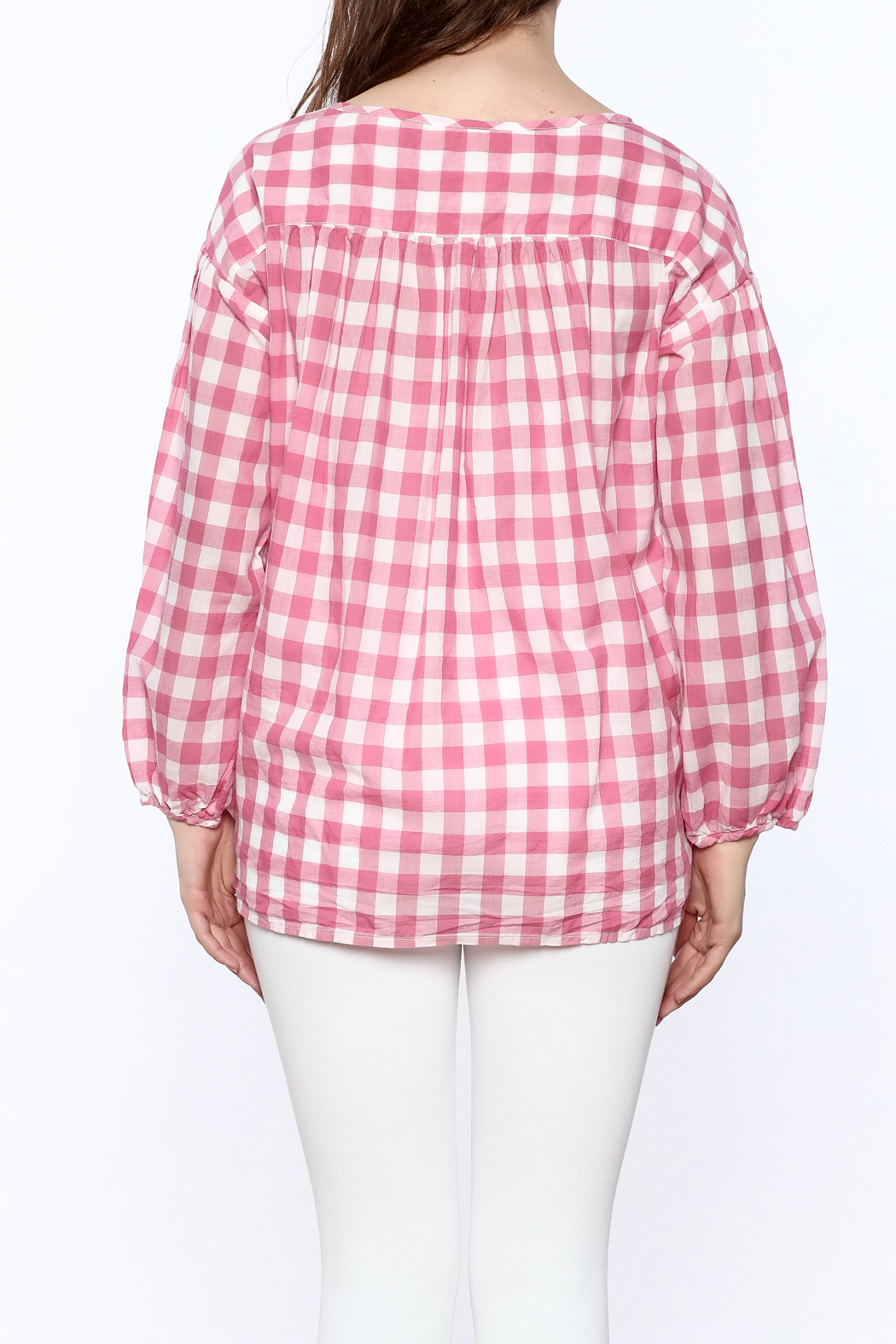 P.S. Shirt Pink Gingham Blouse - Back Cropped Image