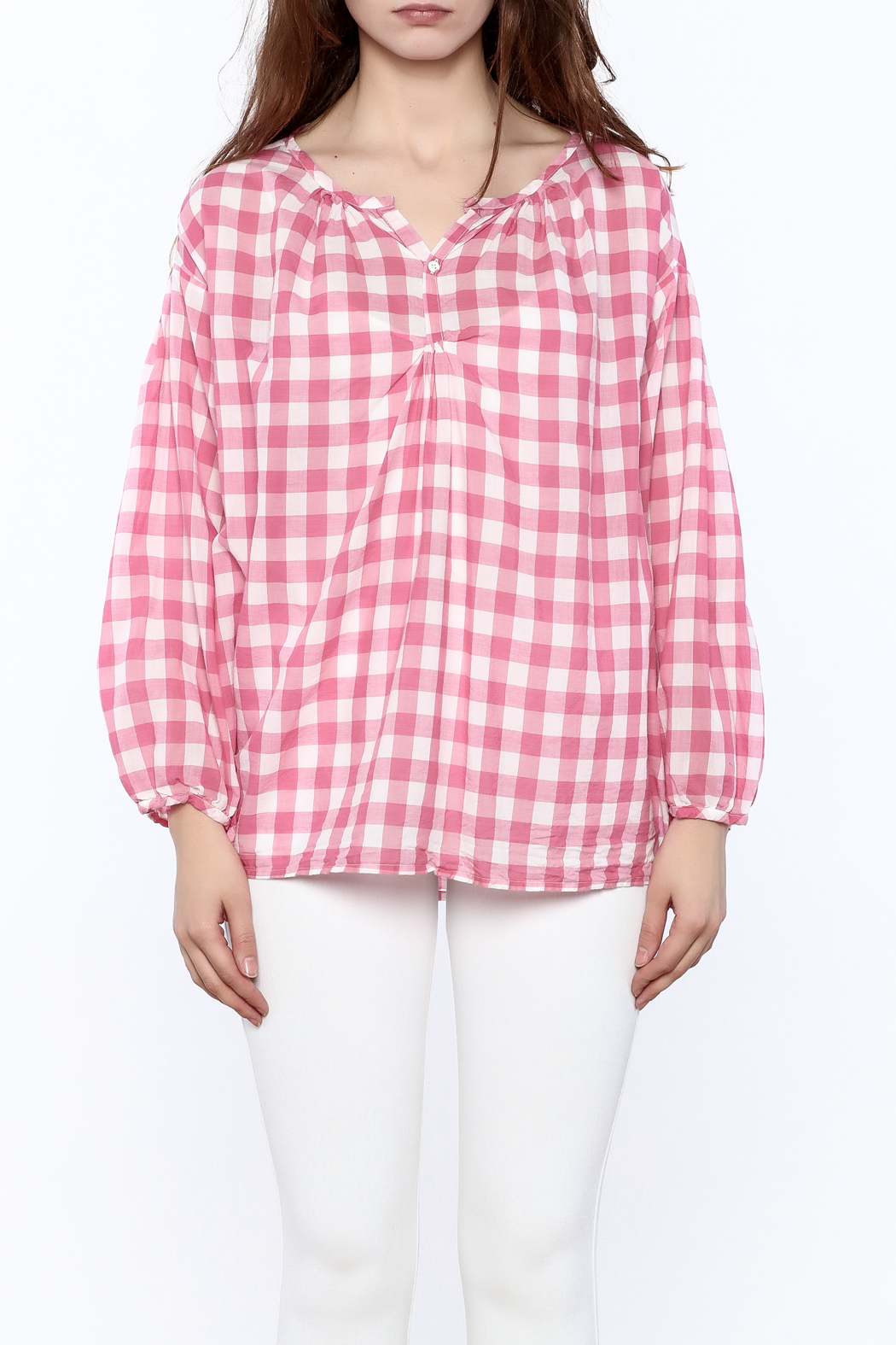 P.S. Shirt Pink Gingham Blouse - Side Cropped Image