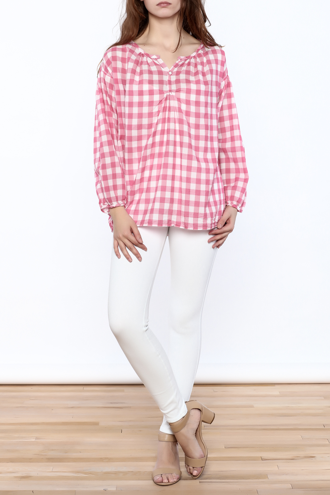 P.S. Shirt Pink Gingham Blouse - Front Full Image