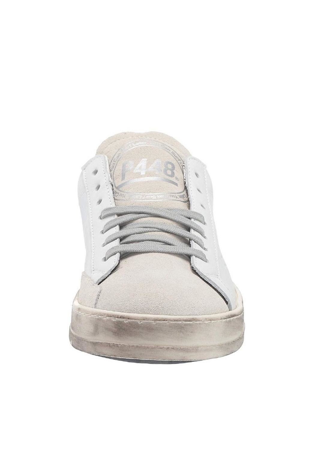 P448 White Leopard Sneaker - Back Cropped Image