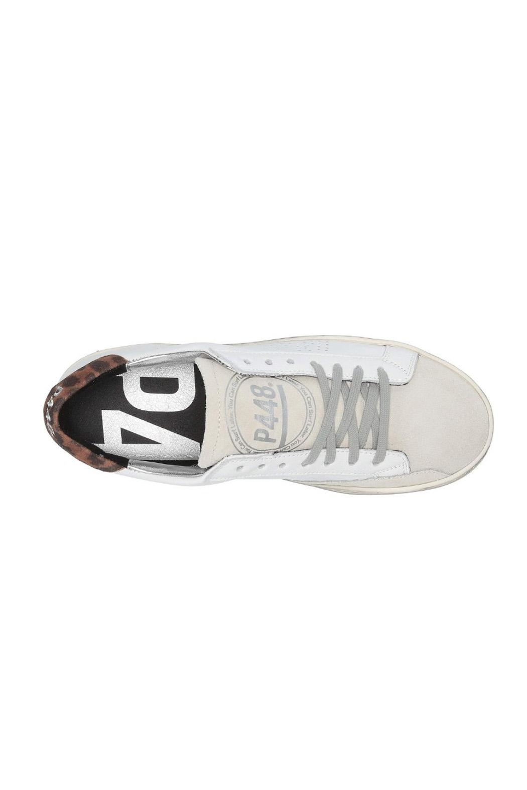 P448 White Leopard Sneaker - Side Cropped Image