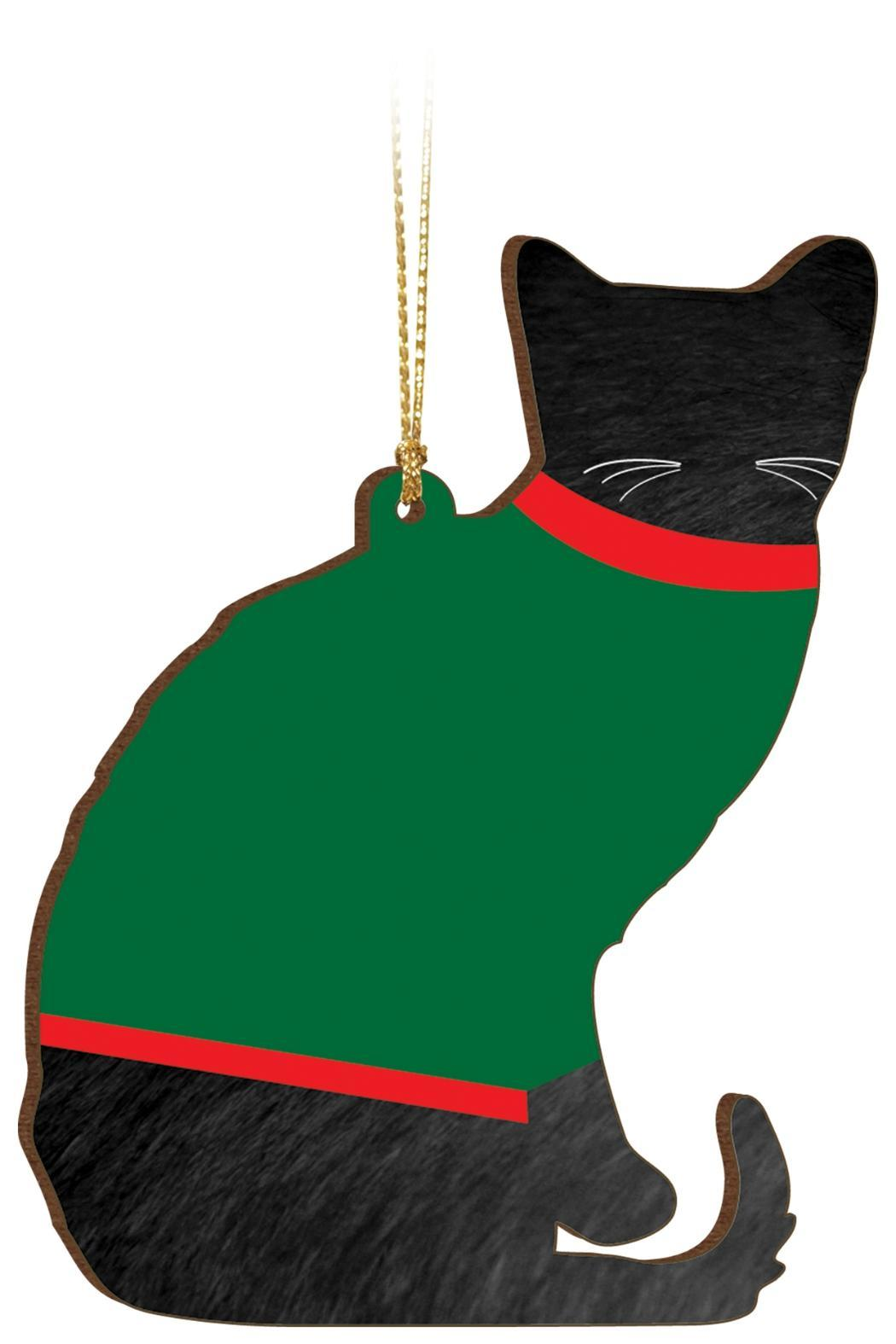 P Graham Dunn Sweater Cat Ornament - Front Full Image