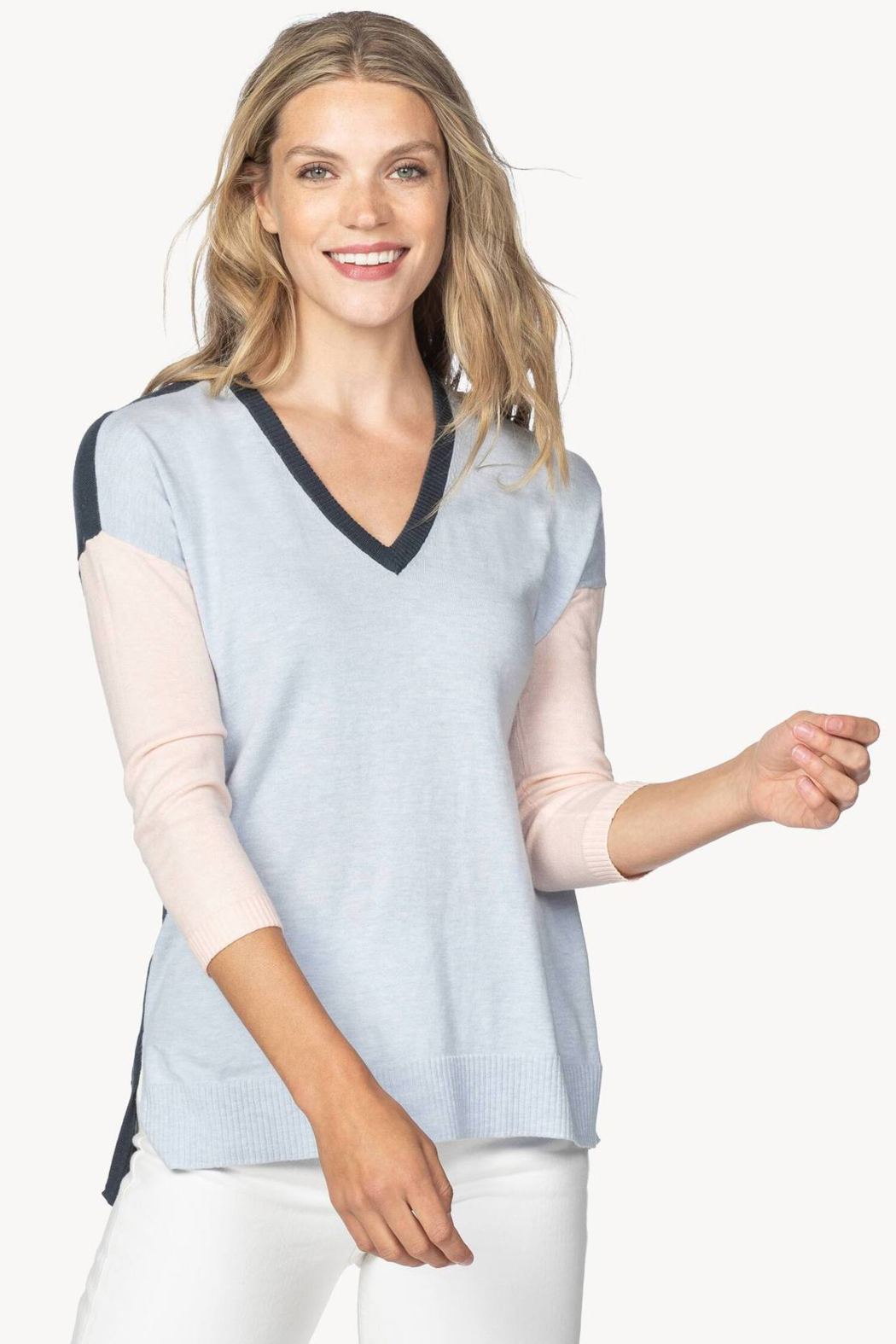 Lilla P PA1369 - Colorblock V-Neck Sweater - Front Cropped Image