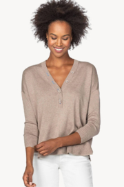 Lilla P PA1381 - Oversized Button Henley Sweater - Front cropped