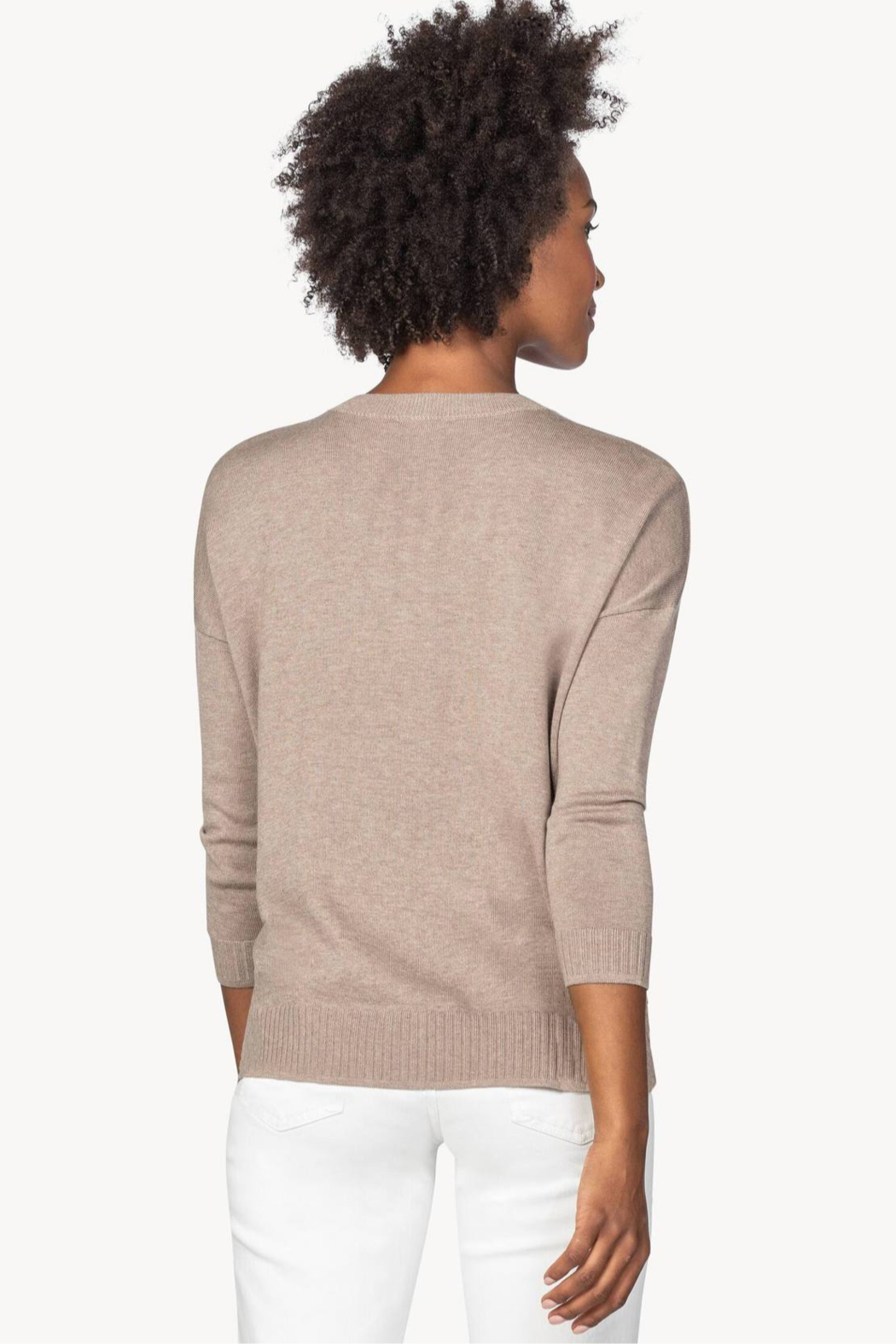 Lilla P PA1381 - Oversized Button Henley Sweater - Side Cropped Image