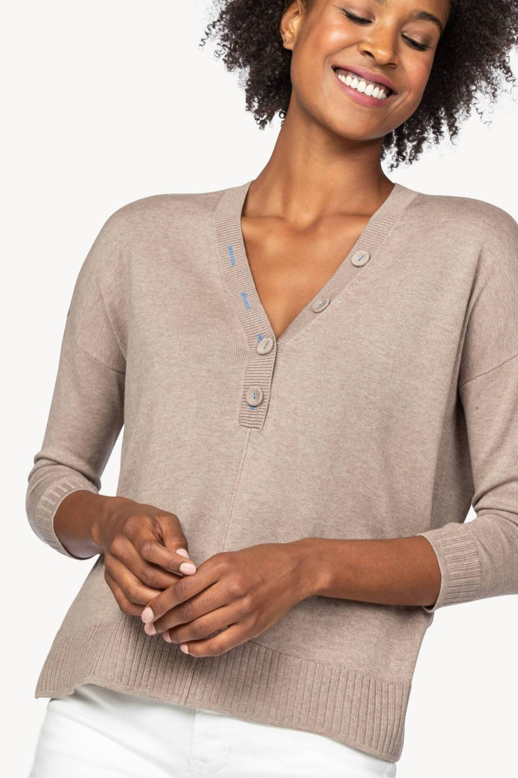 Lilla P PA1381 - Oversized Button Henley Sweater - Front Full Image