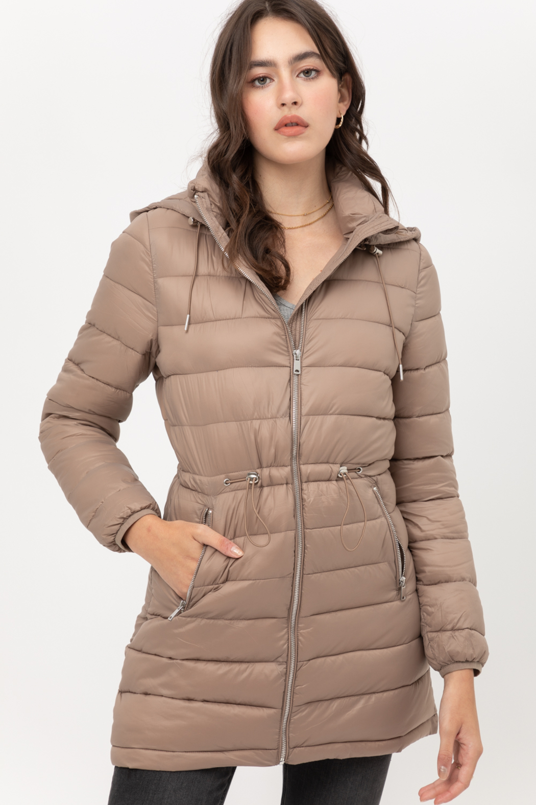 Love Tree  Padded Puffer Coat - Front Cropped Image