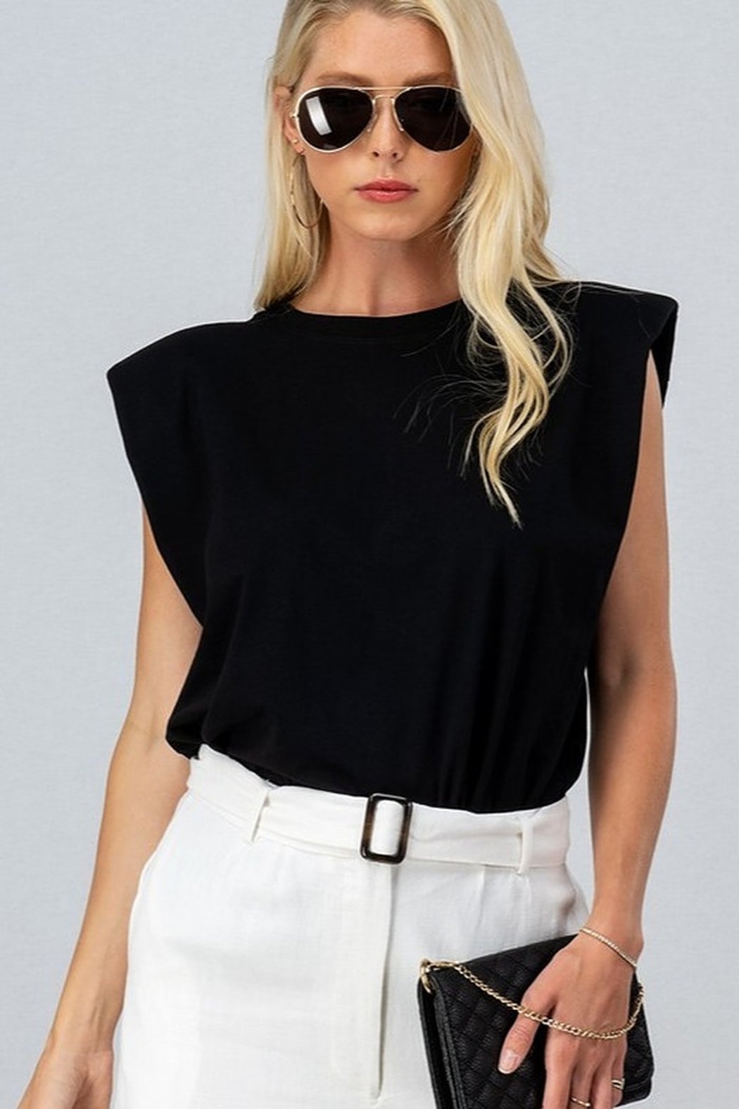 Trend Notes  Padded Shoulder Tee - Front Full Image