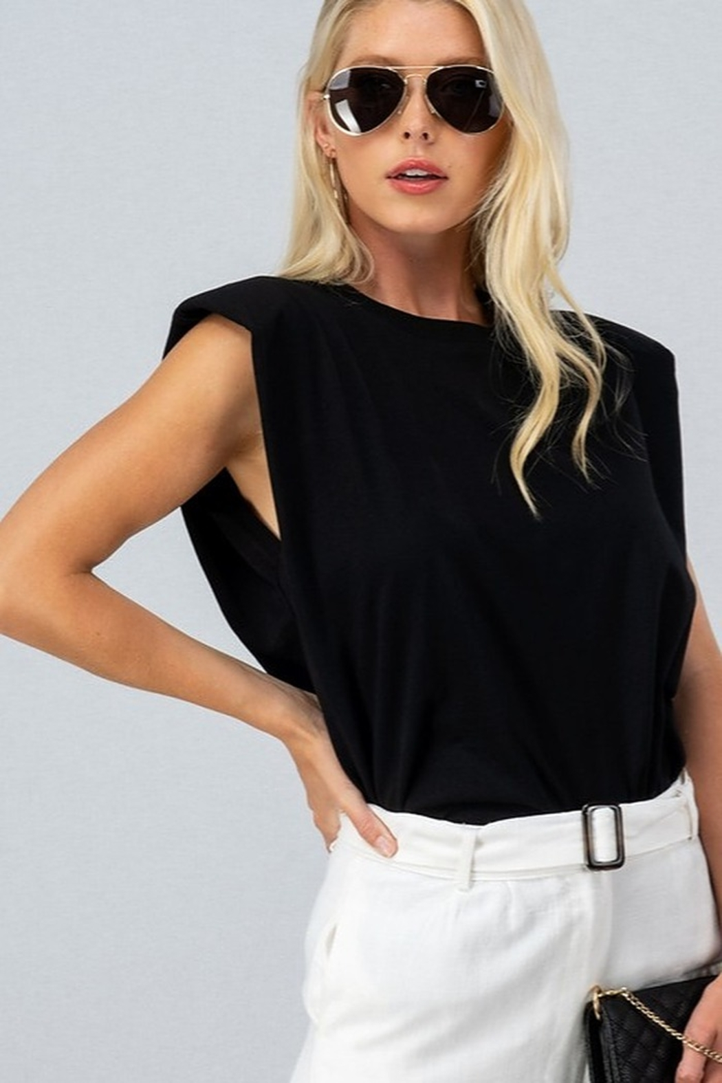 Trend Notes  Padded Shoulder Tee - Front Cropped Image