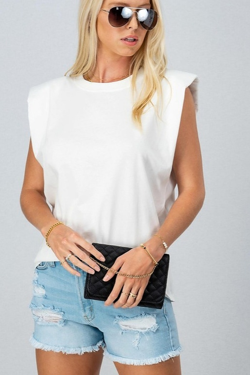 Trend Notes  Padded Shoulder Tee - Side Cropped Image