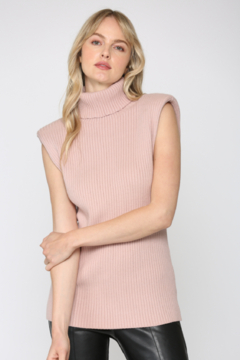Fate Padded Shoulder Turtle Neck Slvl Sweater - Product List Image