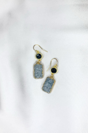Nina Nguyen Designs Pagoda-Audrey Gold Earrings, Stone: Black Druzy - Front cropped