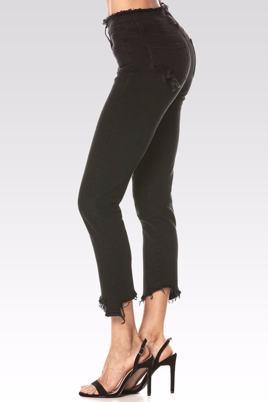 Paige Julia Angled Frayed Jeans - Front Full Image