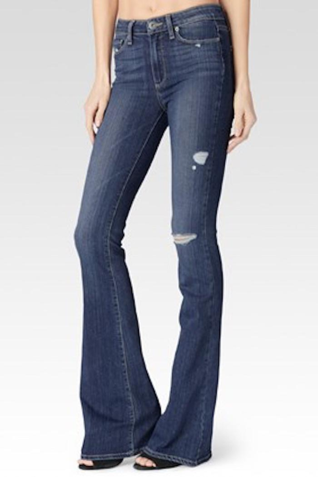 Paige Denim Distressed Flared Jeans - Main Image