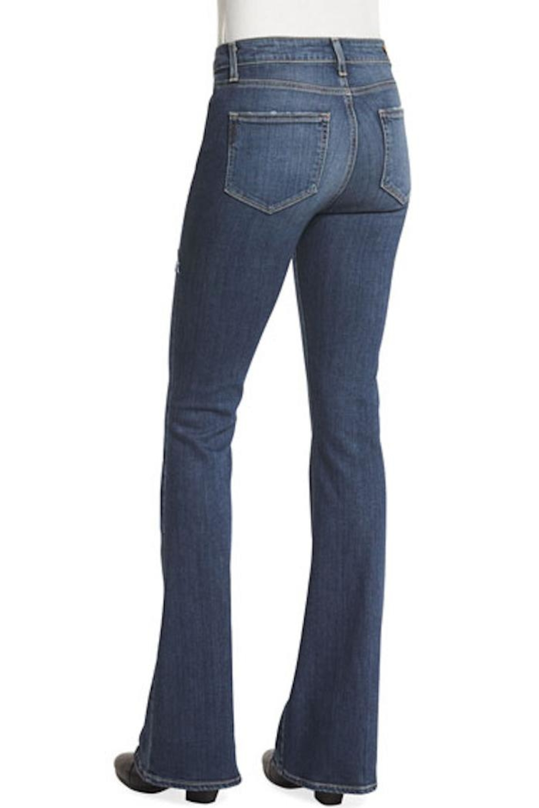 Paige Denim Distressed Flared Jeans - Front Full Image