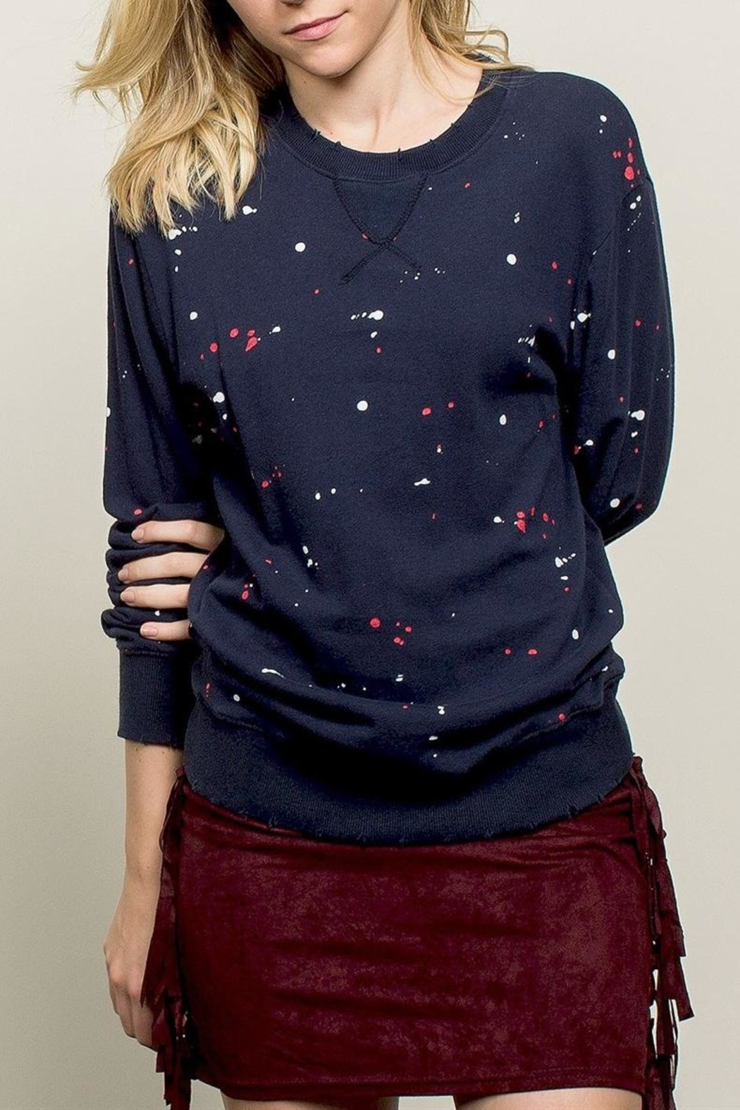 POL Paint Drip Sweatshirt - Front Cropped Image