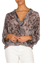 ELAN  Painted in Paisley Surplice Sheer Blouse - Product Mini Image