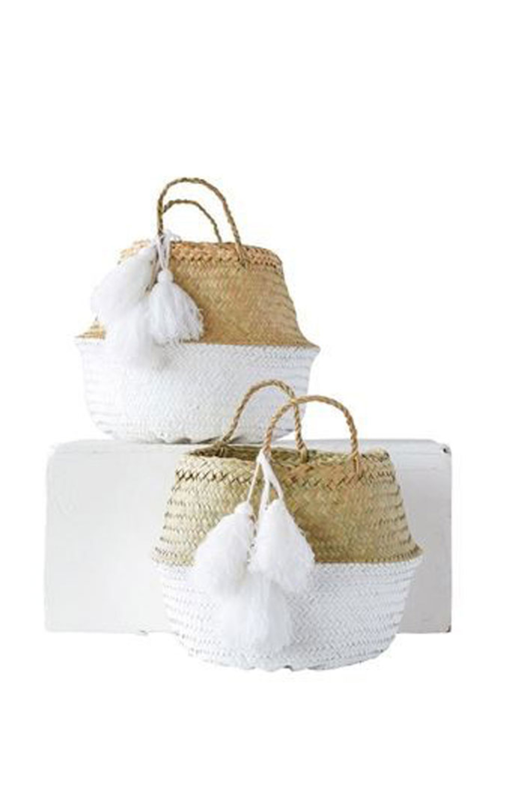 Creative Co-Op Painted Palm Leaf Baskets - Main Image