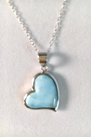 Painted Daisies Larimar Heart Necklace - Product Mini Image