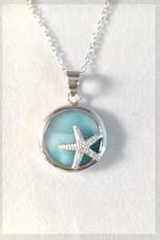 Painted Daisies Larimar Starfish Necklace - Front cropped
