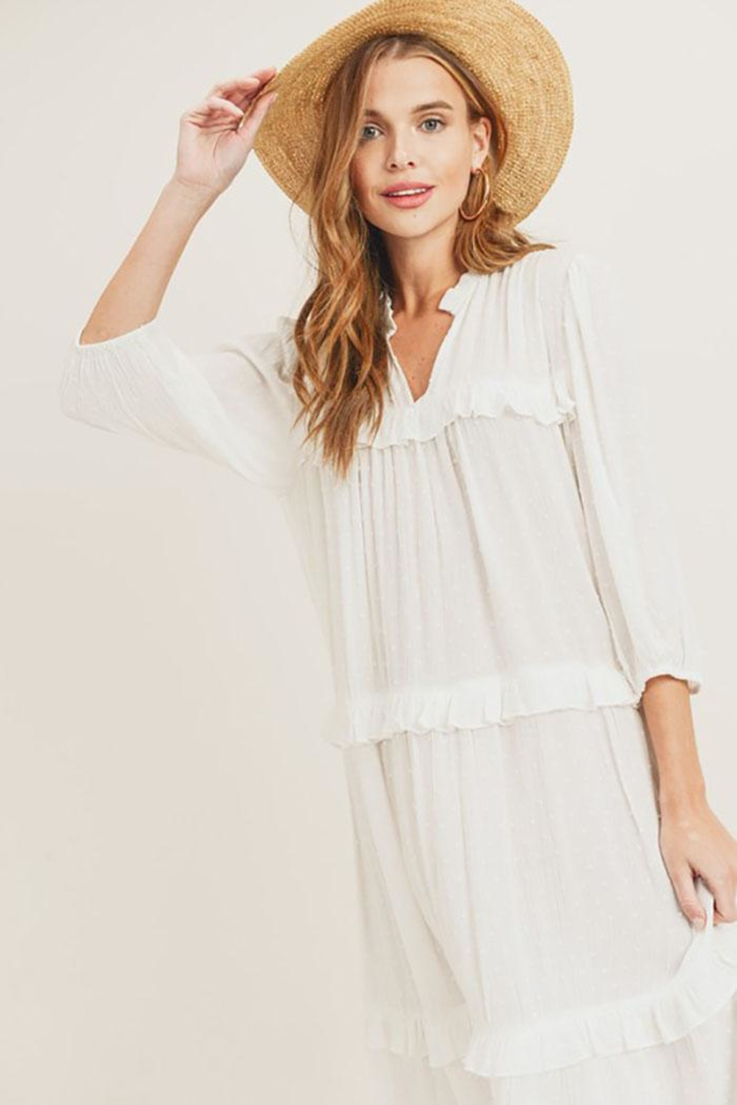 Painted Threads  Tiny Pom Pom Tiered Ruffle Midi Dress - Front Cropped Image