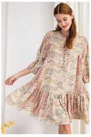 easel  Paisley Color Block Dress - Front cropped