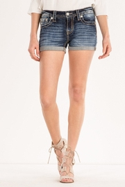 Miss Me Paisley-Embellished Midrise Shorts - Front full body