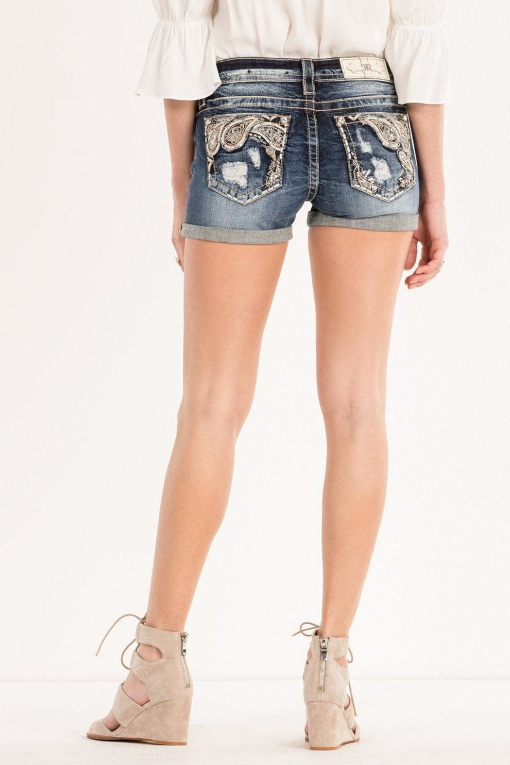 Miss Me Paisley-Embellished Midrise Shorts - Front Cropped Image