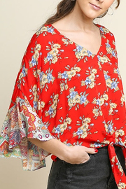 Umgee  Paisley Floral Bell Sleeve Top - Product Mini Image