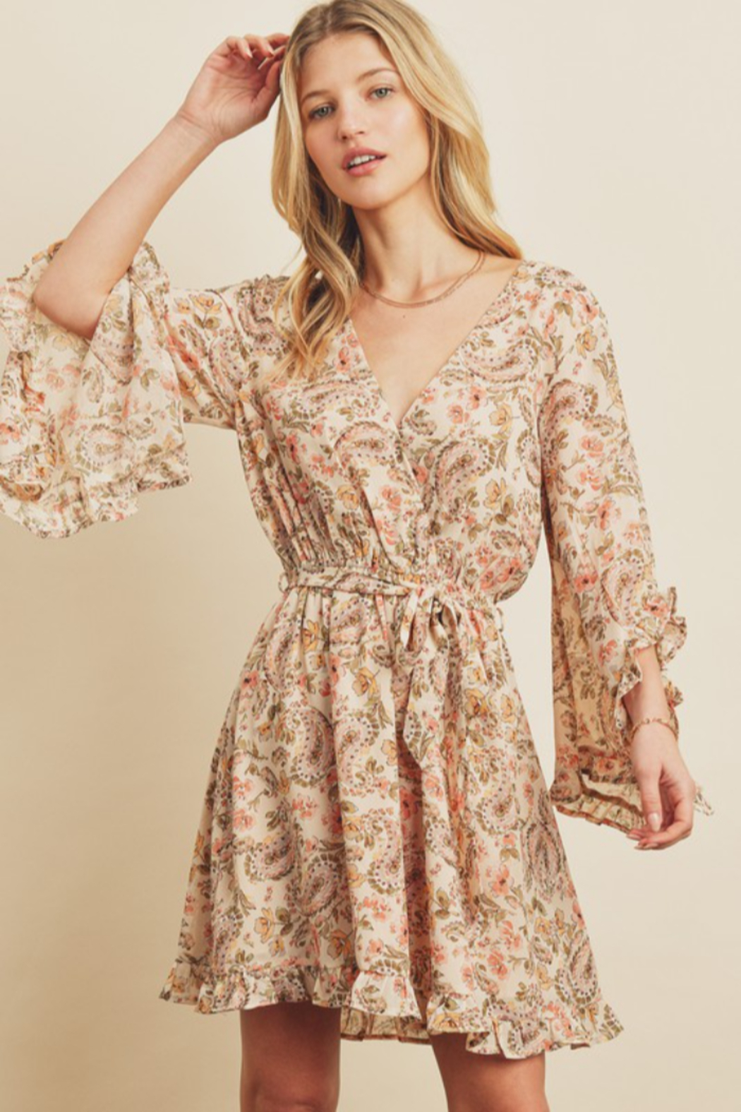 dress forum Paisley Frill Sleeve Dress - Front Cropped Image