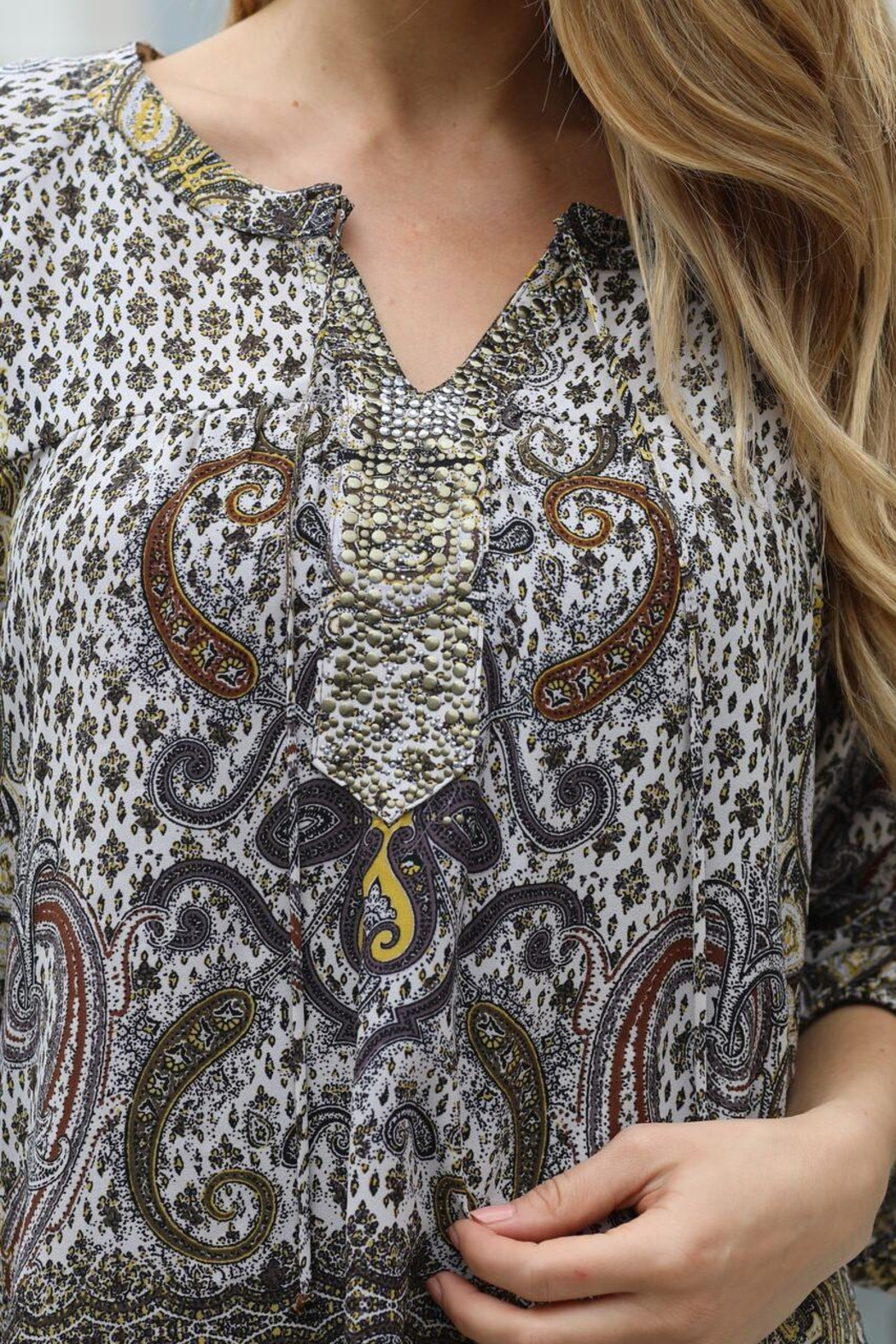 Olive Hill Paisley Grommet Blouse - Front Full Image