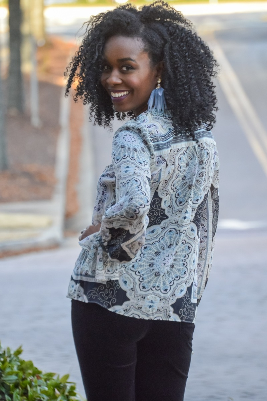 HALEBOB Paisley is the New Black Printed Blouse - Front Full Image