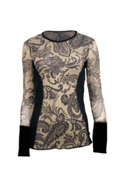 Kay Celine Paisley & Mesh Velvet Cuff Top - Front cropped