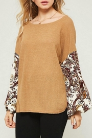 Promesa Paisley Mustard Knit-Top - Product Mini Image