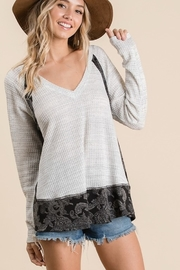 Ces Femme Paisley Print Color Block Top - Product Mini Image