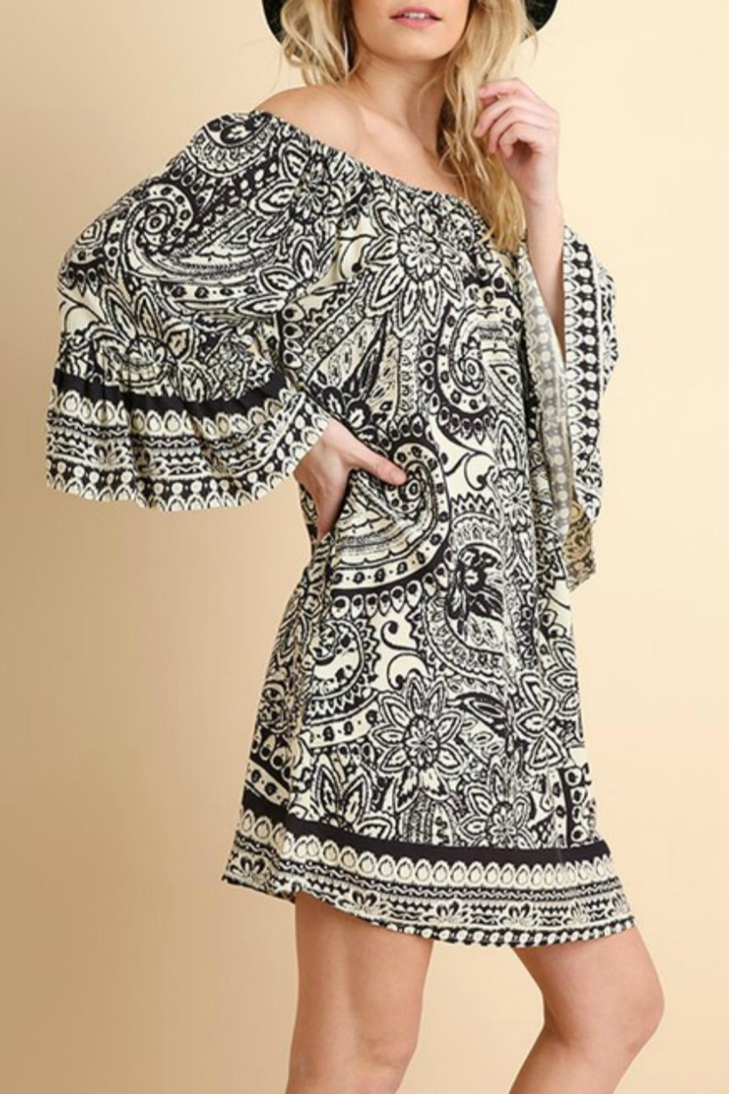 Umgee USA Paisley-Print Day Dress - Front Full Image