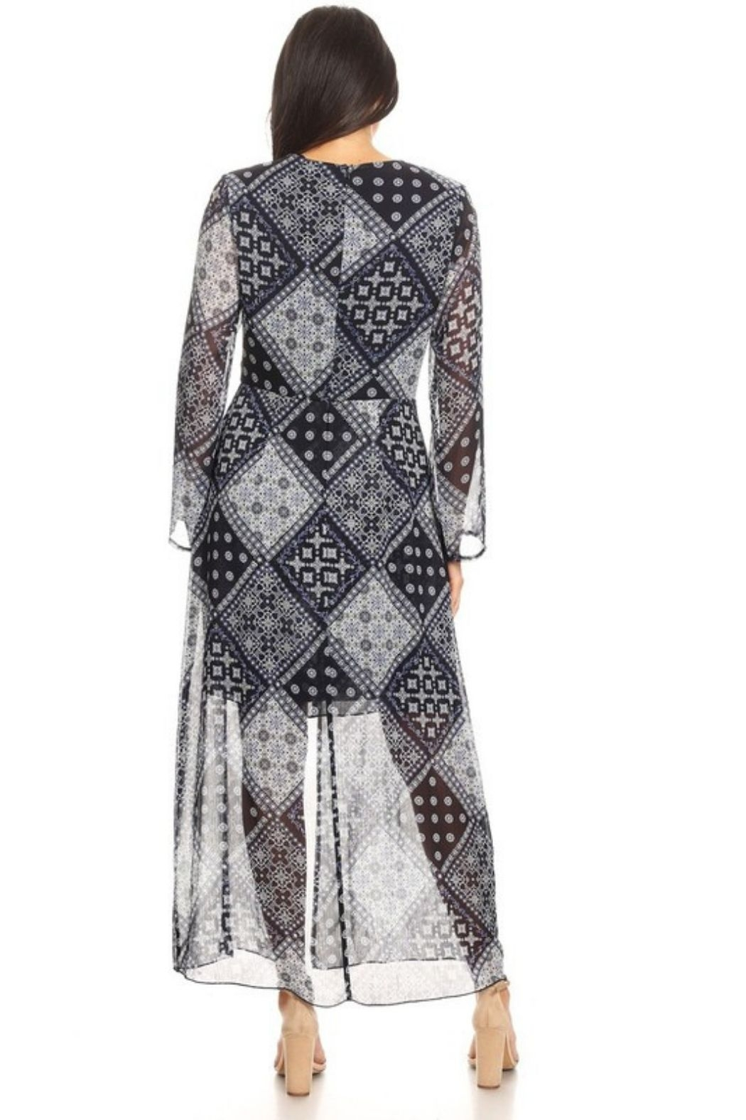 NMC Paisley Print Long Sleeve Maxi Dress - Front Full Image