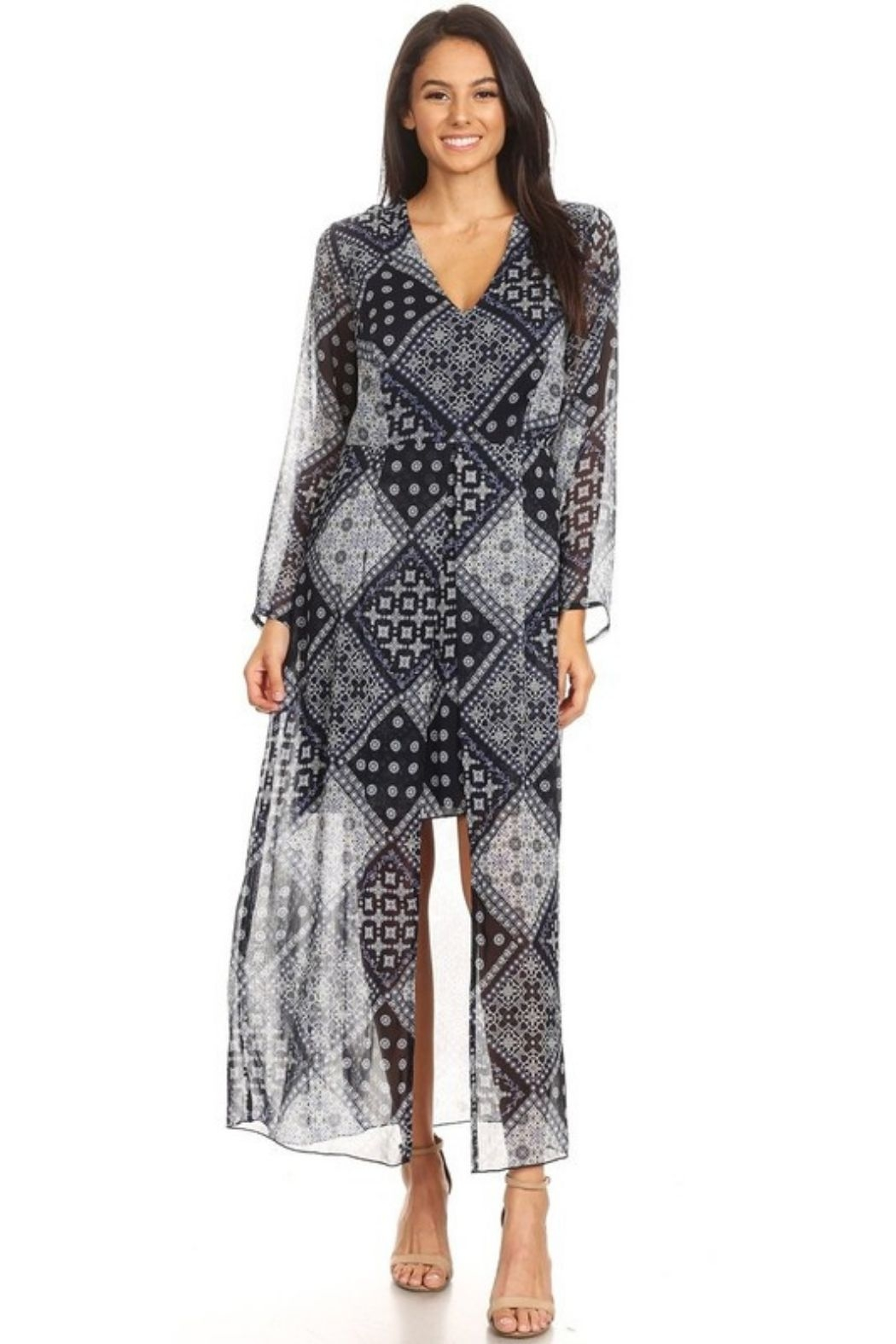 NMC Paisley Print Long Sleeve Maxi Dress - Main Image